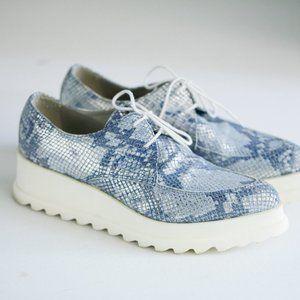 Fabrizio Chini Blue Iridescent Snakeskin Print Chunky Platform Sneakers
